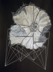 Artwork of large white flower created with Acrylic, ink, and collage on paper