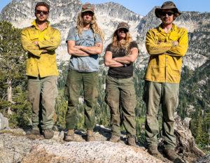 4 Wildland Firefighers on ridgeline
