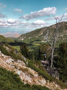 Men on tall peak overlooking valley